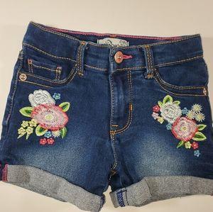 Jordache Gitls 4T Rolled Cuff Denim Embroidered